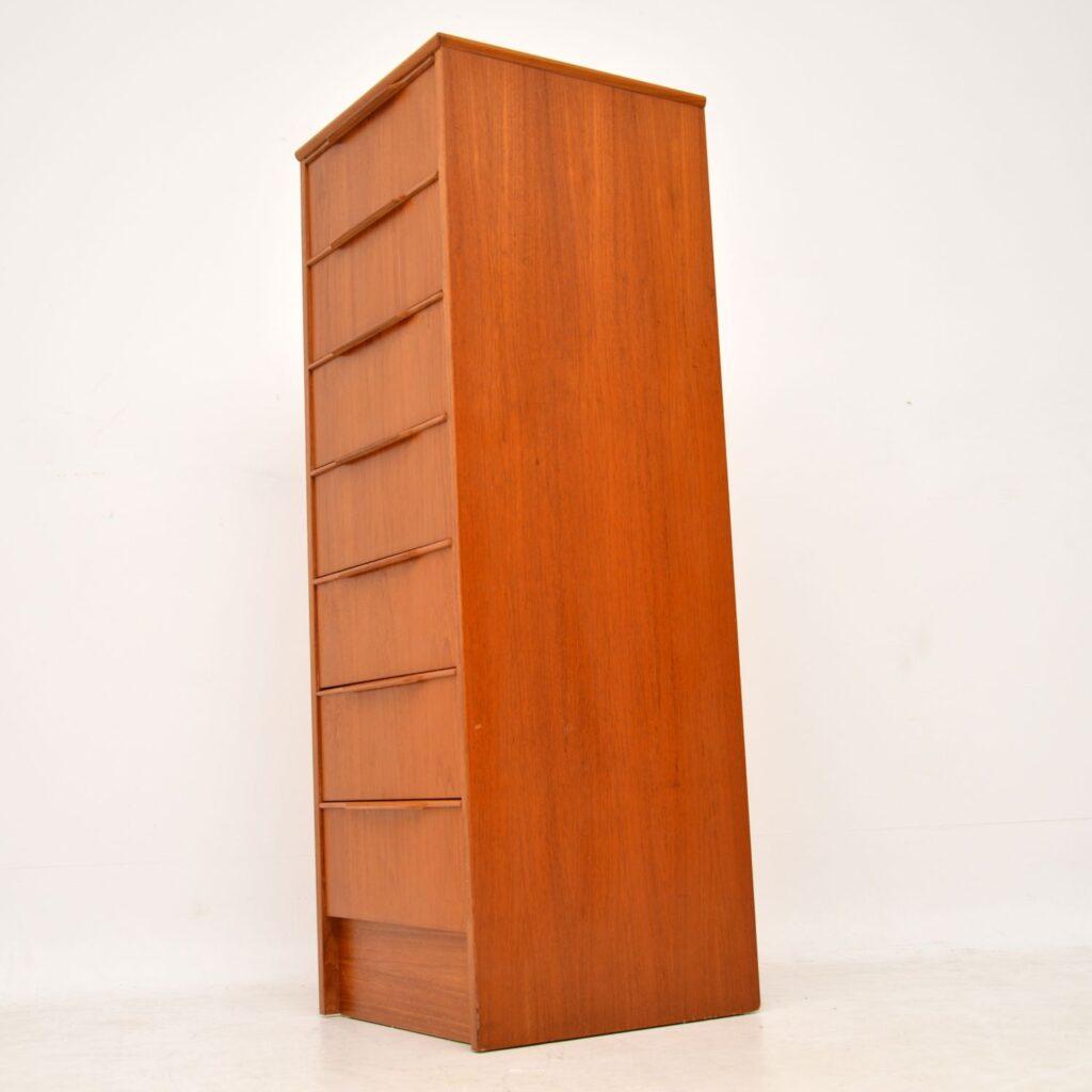 danish teak retro vintage tall boy chest of drawers