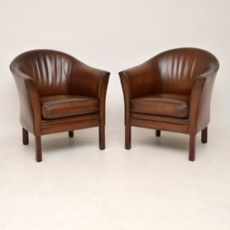 pair of danish retro vintage leather armchairs by mogens hansen