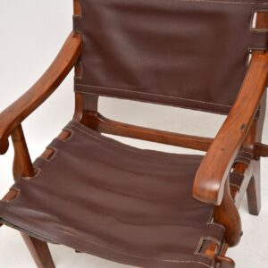 Pair of Vintage Leather & Rosewood Safari Armchairs by Angel Pazmino