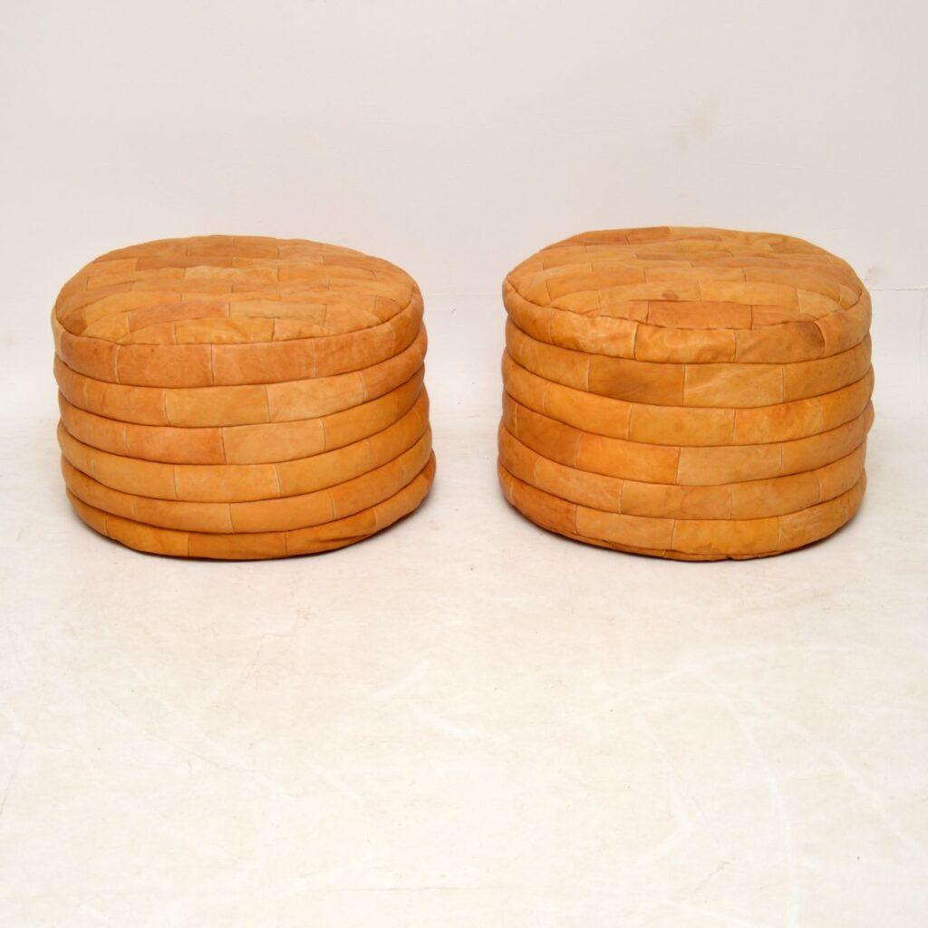 pair of retro vintage leather stools poufs bean bag by de sede