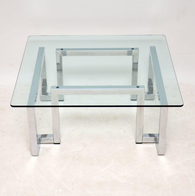 retro vintage chrome glass coffee table tim bates pieff mandarin