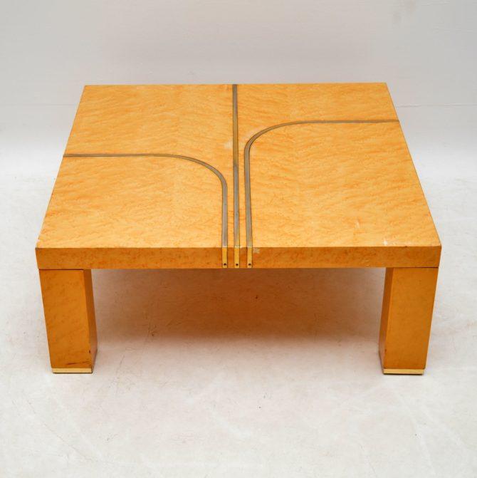 retro vintage italian maple brass coffee table by zevi