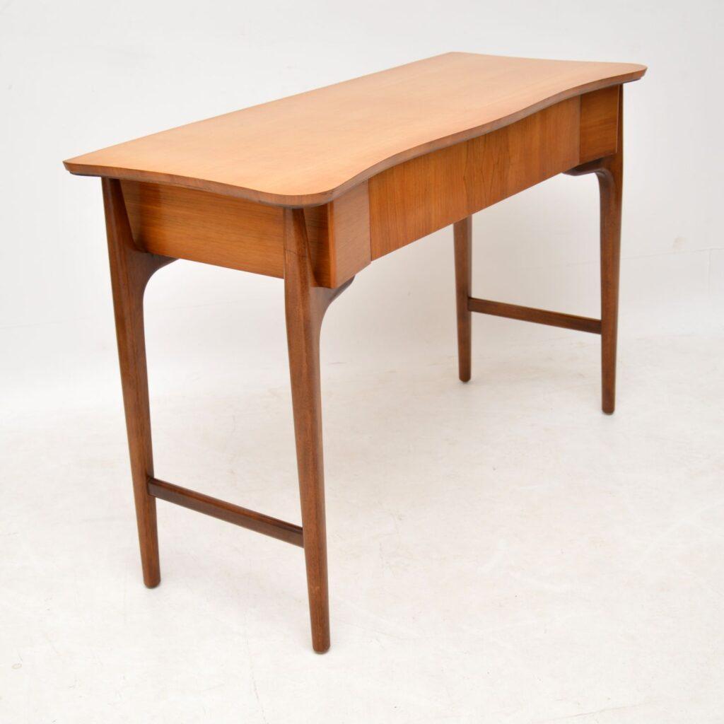 retro vintage satin wood walnut console table