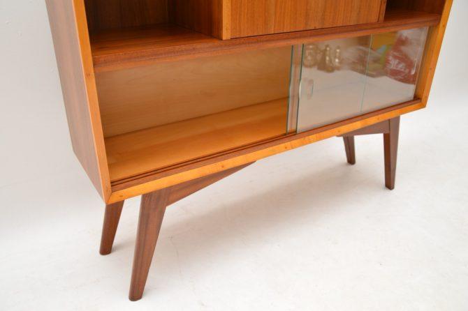 retro vintage walnut bureau bookcase cabinet