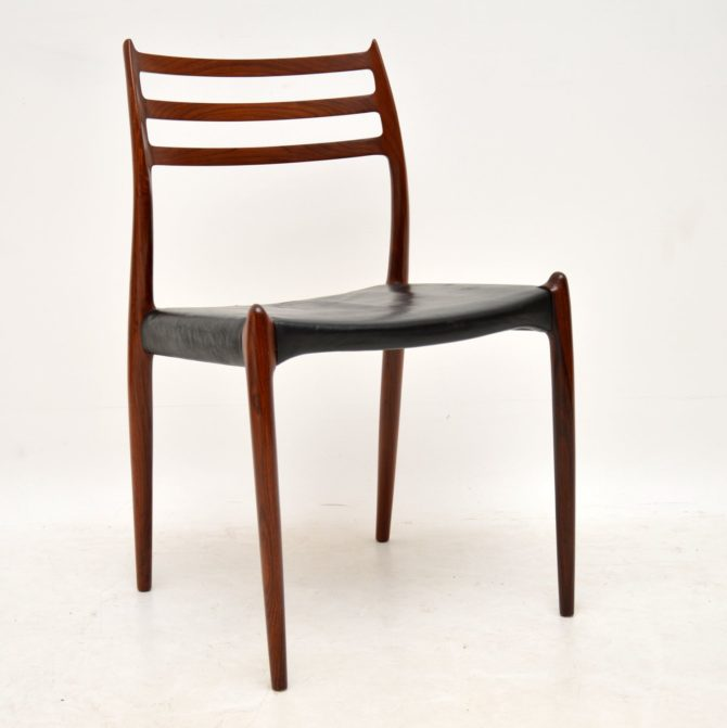 set of six danish rosewood leather dining chairs model 78 niels moller