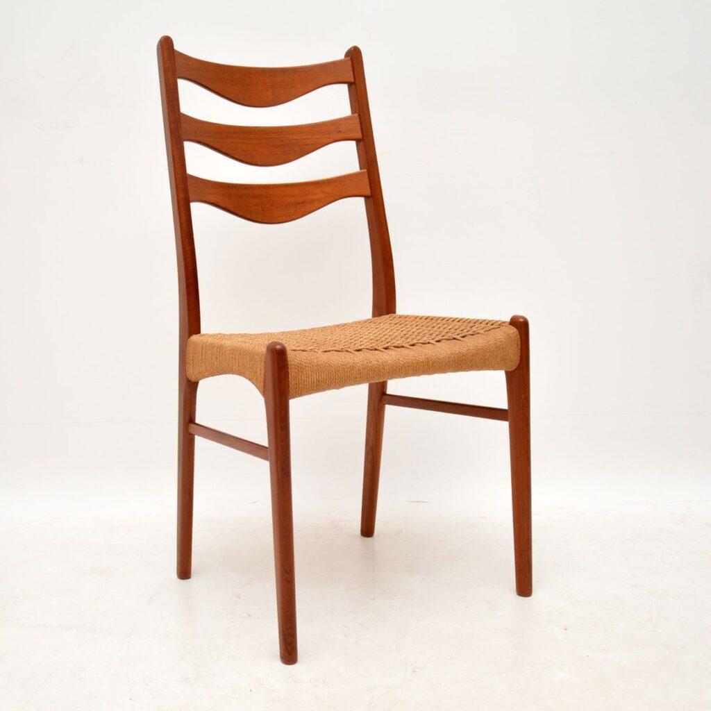 set of six danish teak retro vintage dining chairs arne wahl iversen