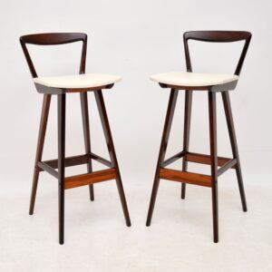 pair of danish rosewood retro vintage bar stools rosengren hansen