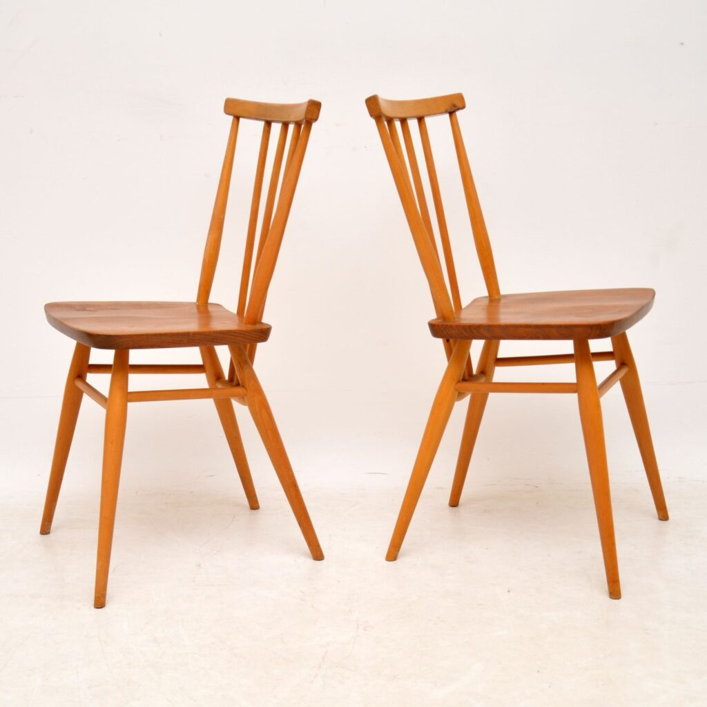 pair of retro vintage ercol dining chairs