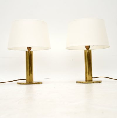 pair of vintage retro brass table lamps