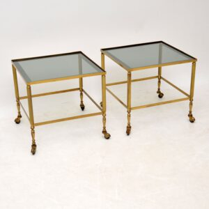 pair of vintage retro french brass glass side tables