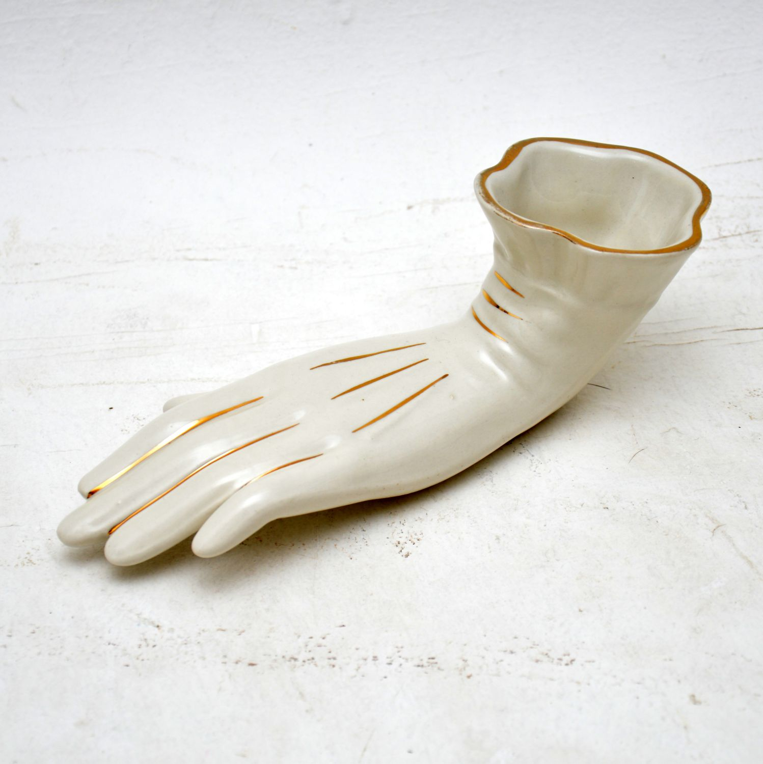retro vintage ceramic porcelain glove pencil holder