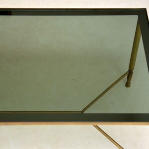 vintage retro french brass and glass coffee table