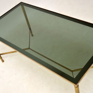 1950's Vintage French Brass & Glass Coffee Table