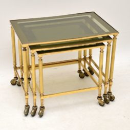 vintage retro brass glass nest of tables