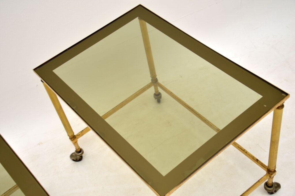 vintage retro brass glass nest of tables