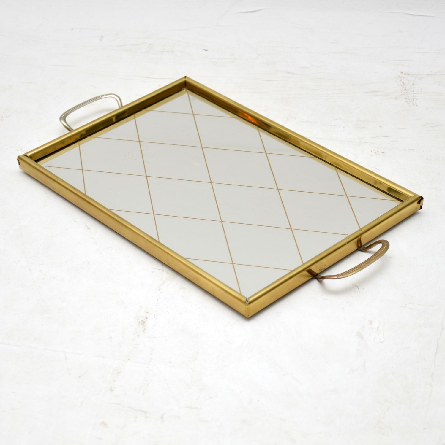 antique retro vintage mirrored serving tray