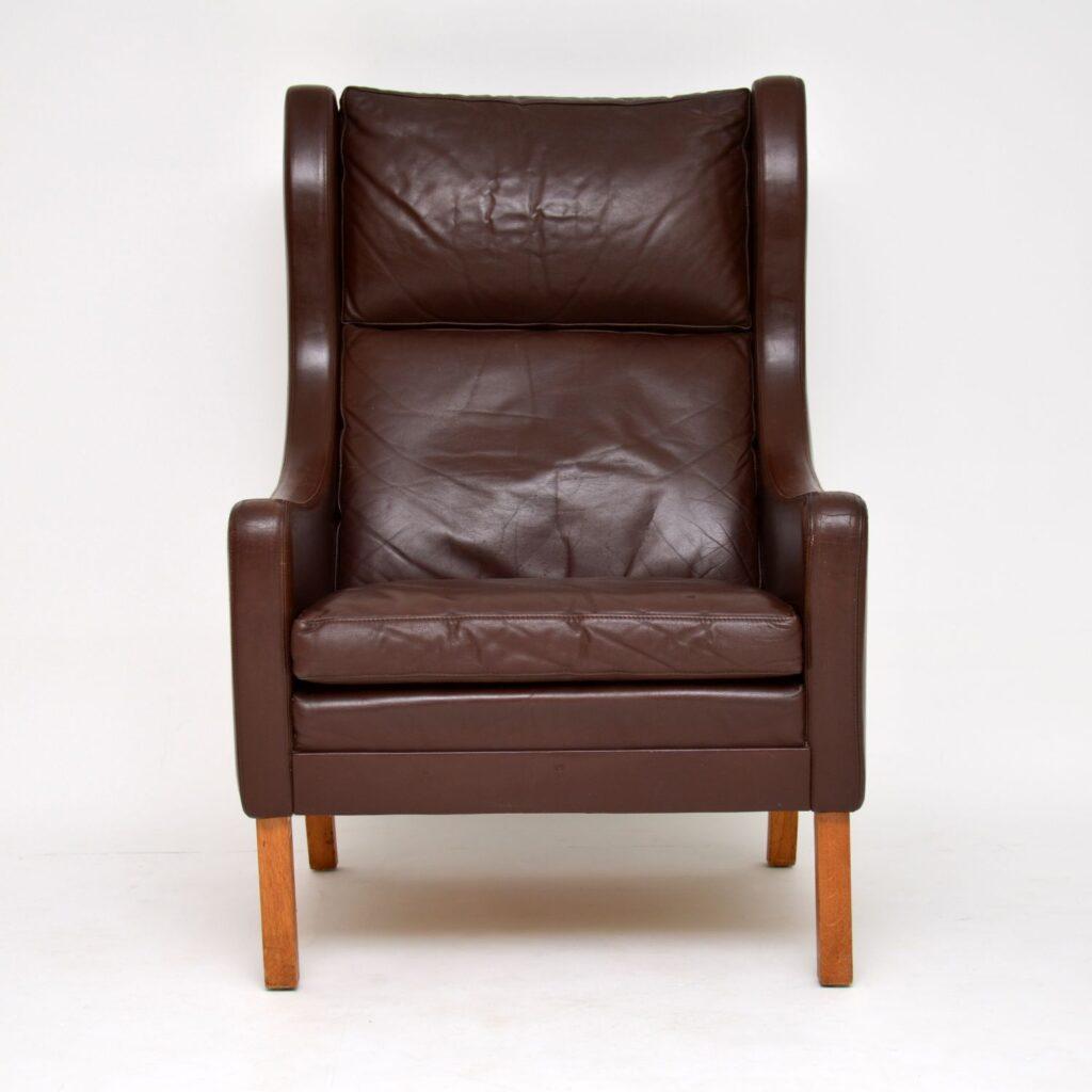 danish retro vintage leather armchair