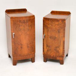 pair of original walnut art deco period bedside cabinets