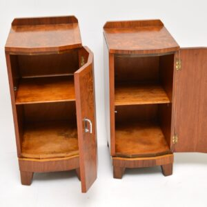 1920's Pair of Art Deco Burr Walnut Bedside Cabinets
