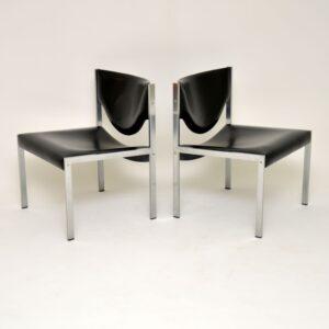 pair of danish retro vintage steel side easy lounge chairs