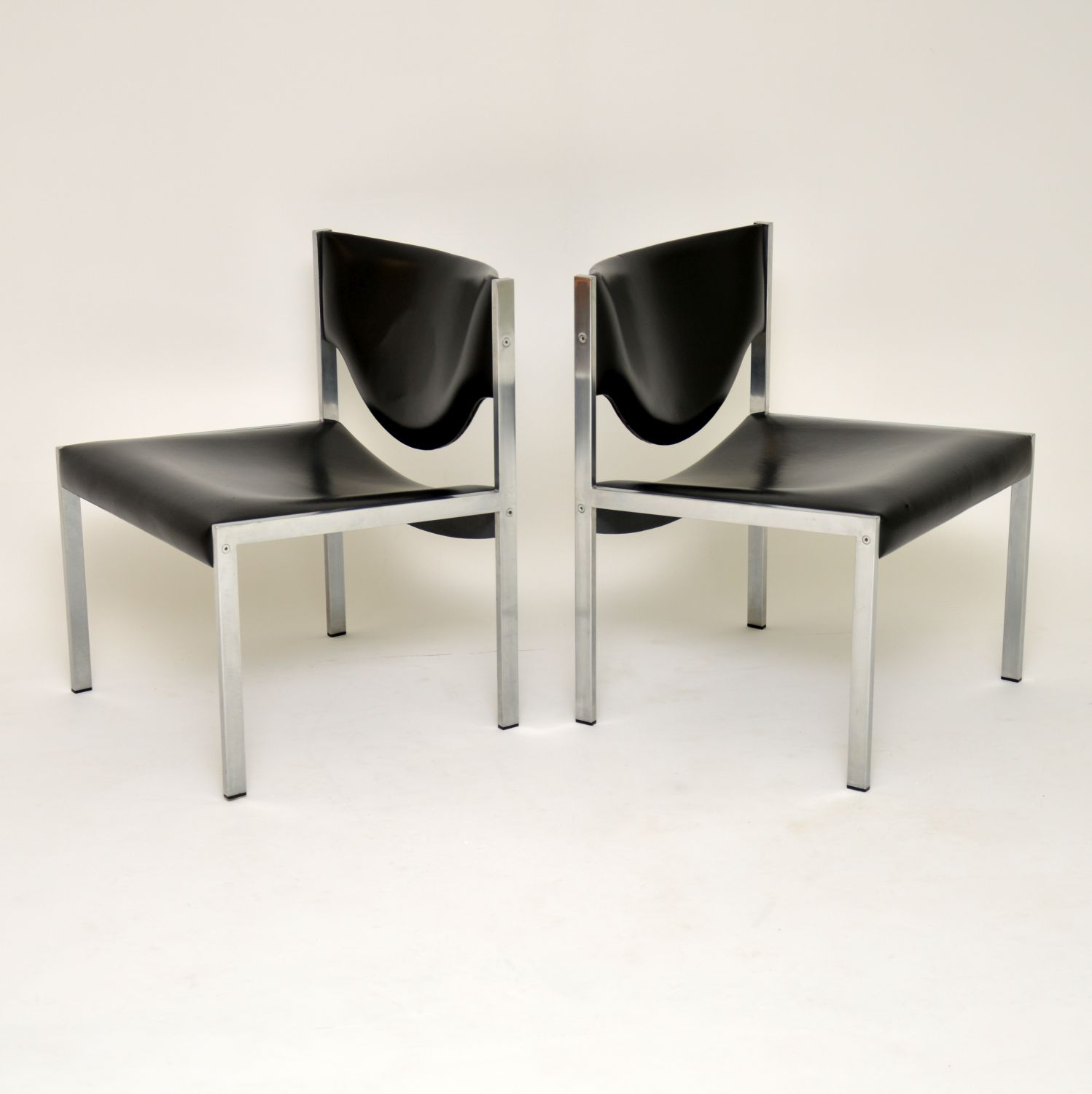 pair of danish retro vintage steel side easy lounge chairs