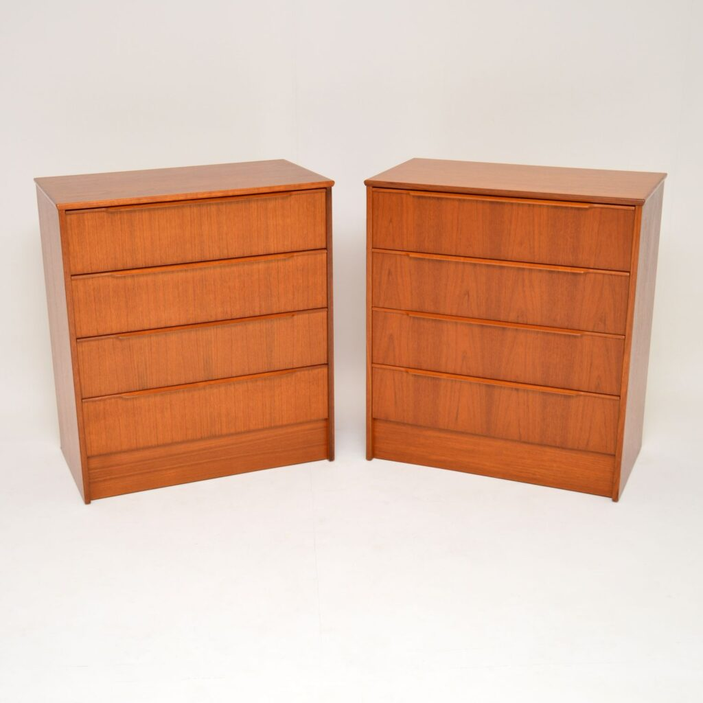 pair of danish retro teak chests of drawers