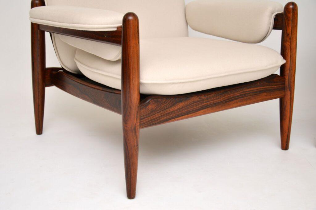 pair of danish rosewood retro vintage armchairs