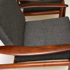 pair of danish rosewood armchairs grete jalk france and son