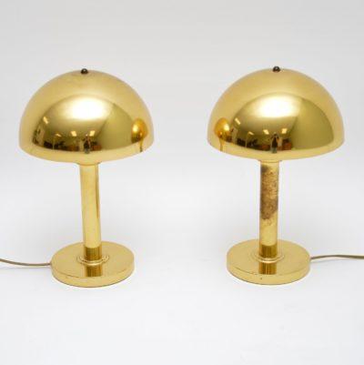 pair of retro danish vintage brass table lamps