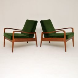 pair of retro vintage greaves and thomas armchairs