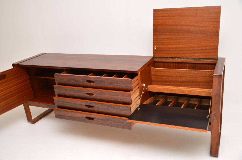 retro vintage danish rosewood sideboard uniflex
