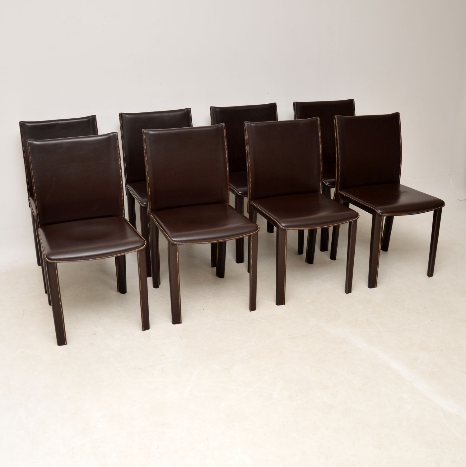 set of eight 8 italian leather dining chairs arper