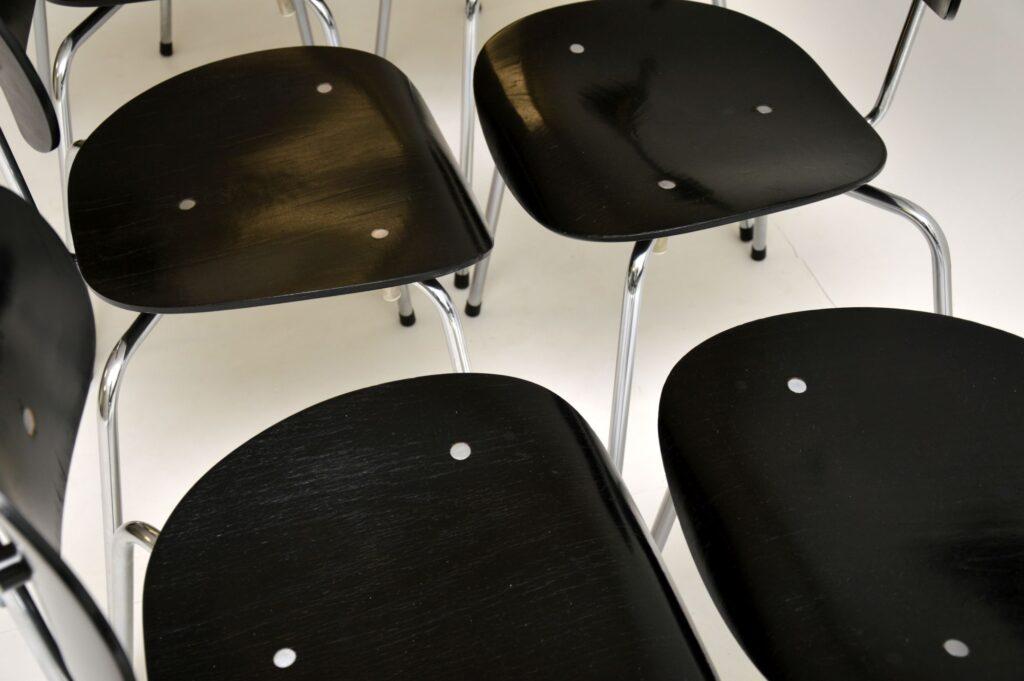 set of eight 8 retro vintage stacking dining chairs egon eiermann