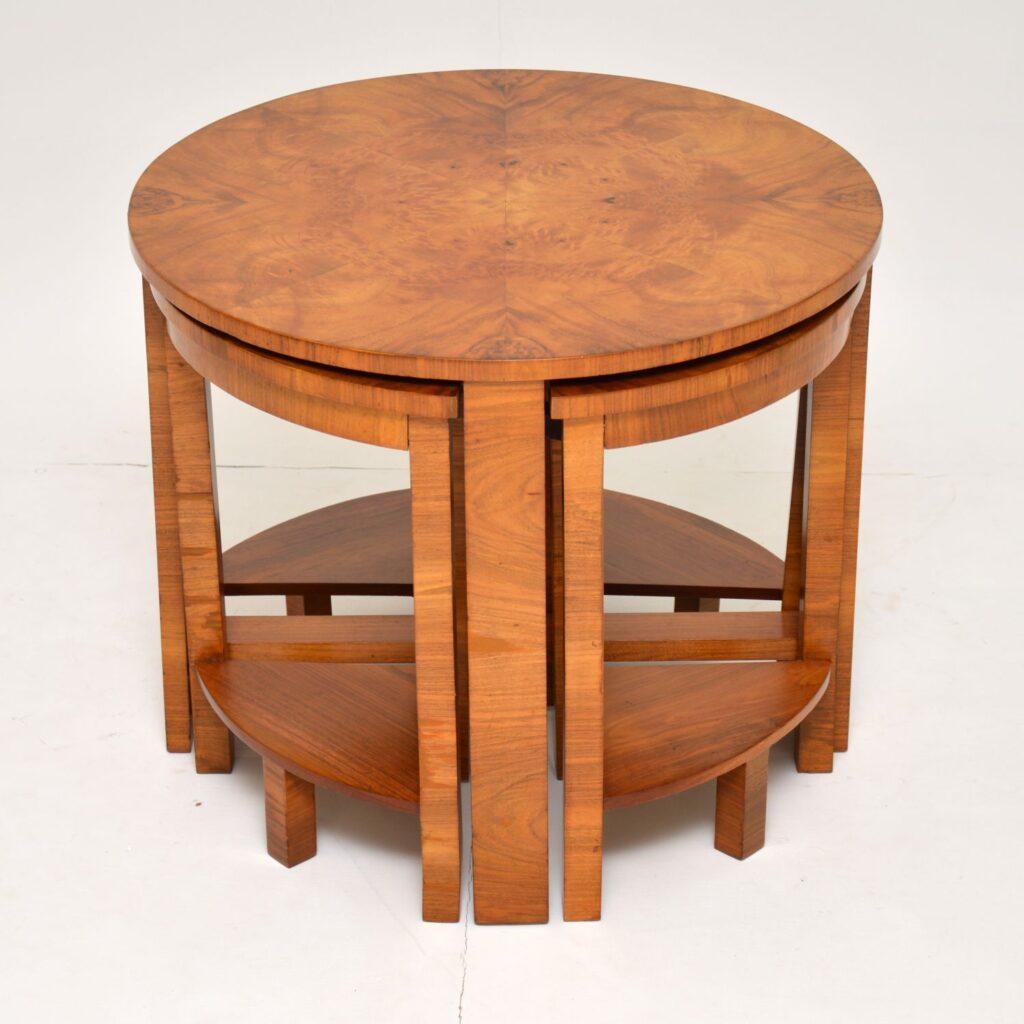 art deco burr walnut nesting tables coffee table