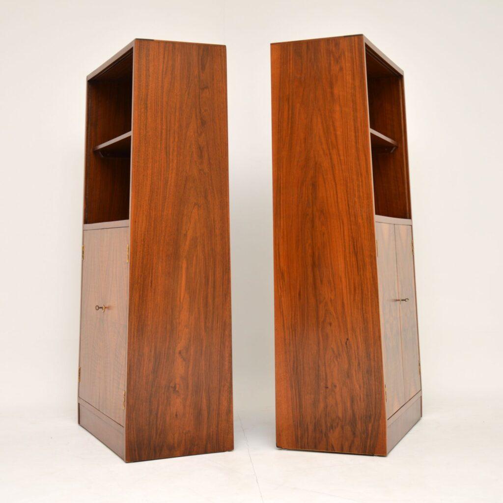 pair art deco walnut cabinets bookcase