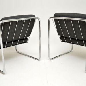 1970's Pair of Vintage Steel Lounge Chairs