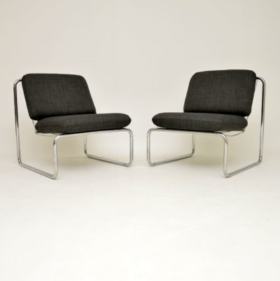 pair of retro vintage steel chrome lounge chairs armchairs