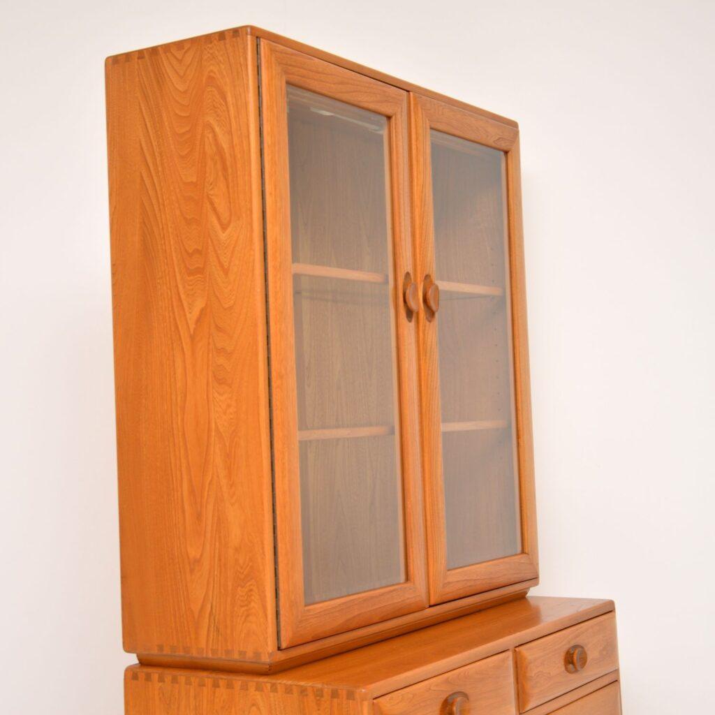 retro vintage solid elm bookcase cabinet by ercol golden dawn windsor