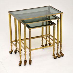 retro vintage antique brass nest of tables