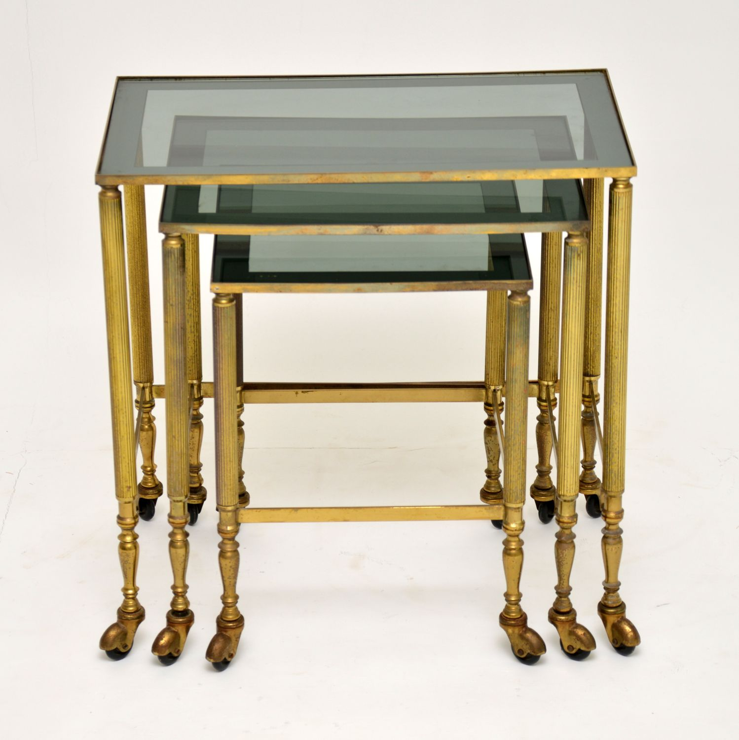 retro vintage antique brass nest of tables