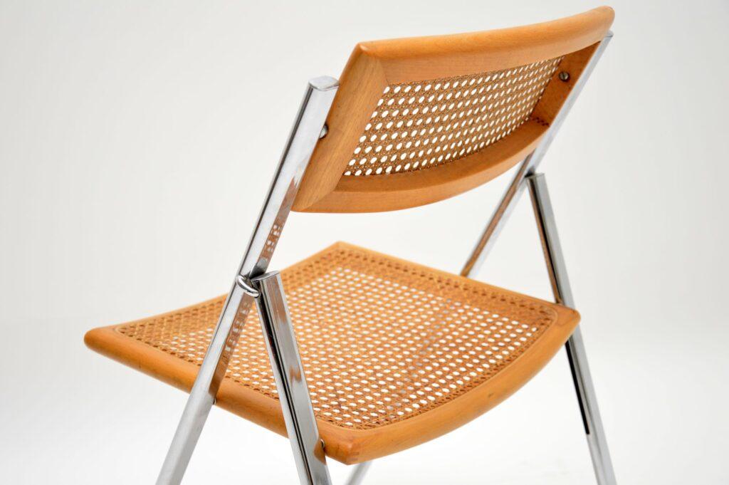 retro vintage italian chrome cane foldining dining chairs arben