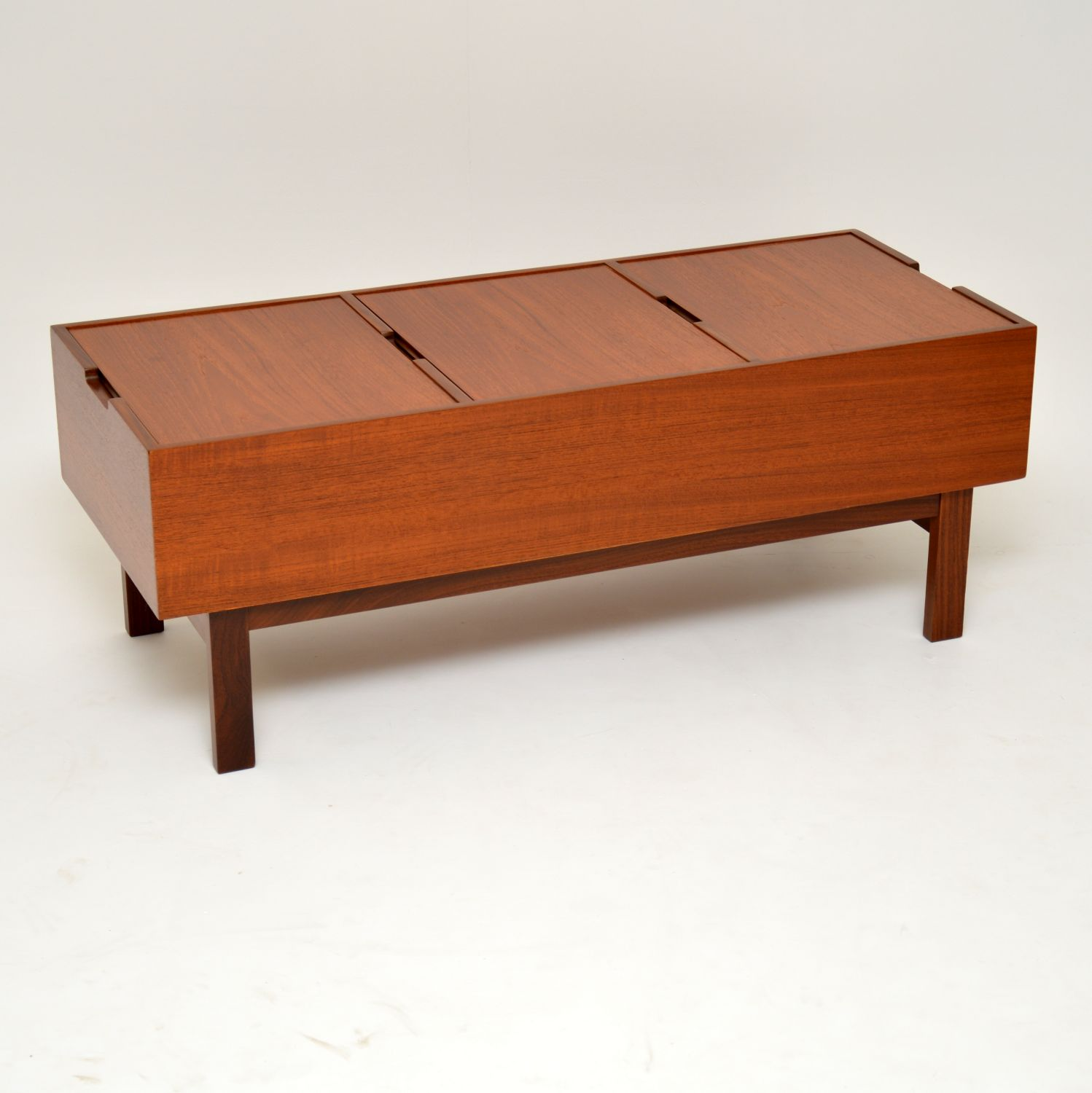 danish teak retro vintage coffee table storage box chest