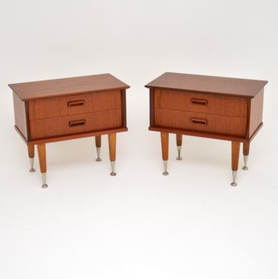 pair danish teak retro vintage bedside chests