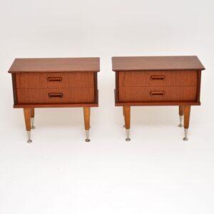 1960's Pair of Vintage Danish Teak Bedside Chests
