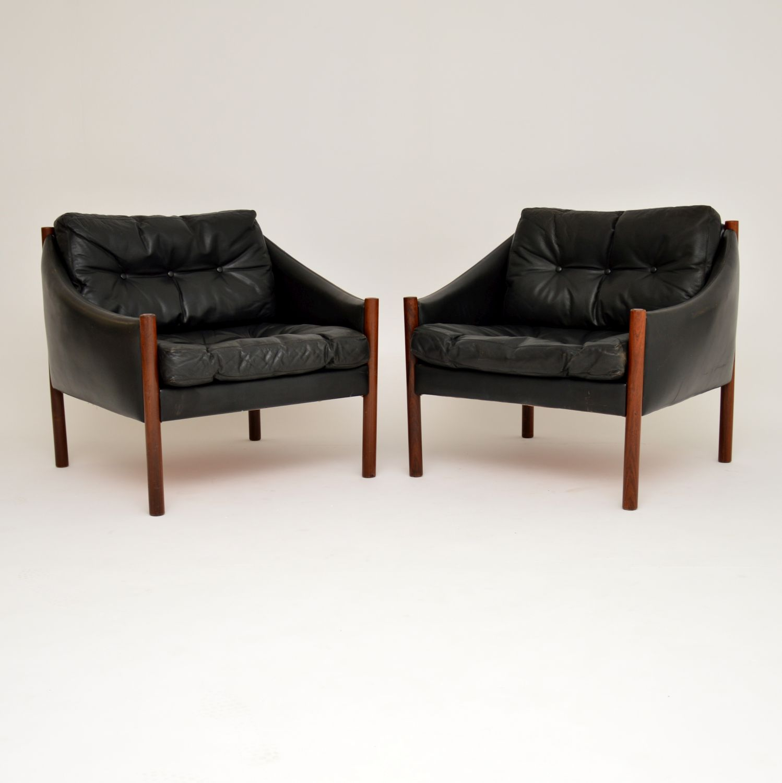 pair danish leather rosewood vintage retro armchairs
