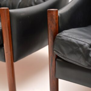 pair danish leather rosewood vintage retro armchairs