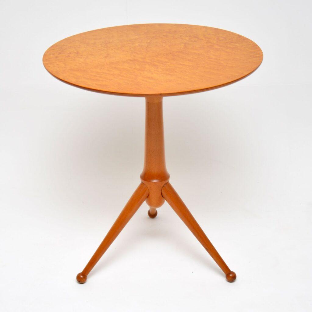 retro vintage maple side tripod wine table
