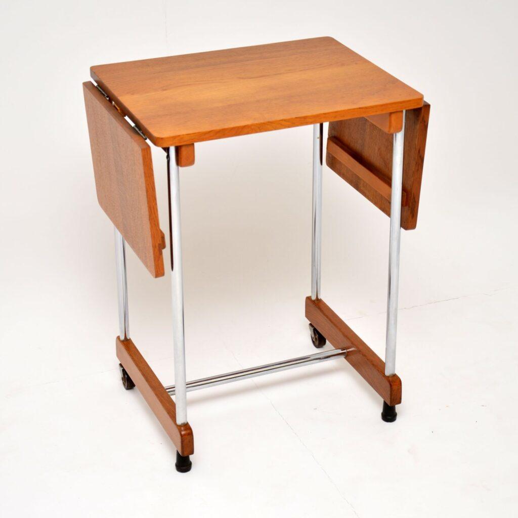 retro vintage oak chrome drop leaf side table