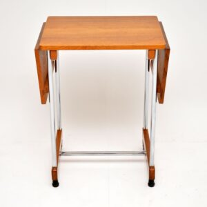 retro vintage oak chrome drop leaf side table