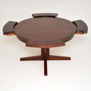 danish rosewood retro vintage dyrlund flip flap lotus dining table